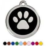 DOGPET-TAG-DESIGN-32mm-Stainless-Steel-Paw-BLACK-Engraved-from-Melian-MESSAGE-US-WITH-WORDING-REQUIRED-FREE-POST-0