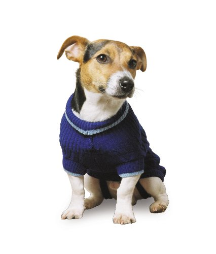 Muddy Paws Cable Knit Sweater Blue Medium