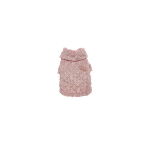 Puppy Angel Pearl Bow Luxury Coat, M, Pink
