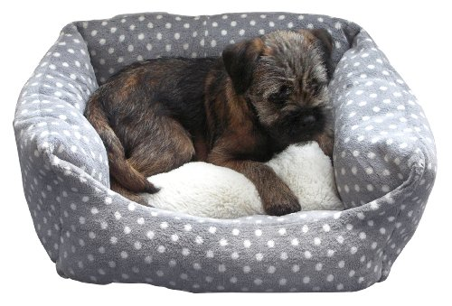 Rosewood 40 Winks Small Dog/ Cat Sleeper Bed, 16-inch, Grey/ Cream Spot