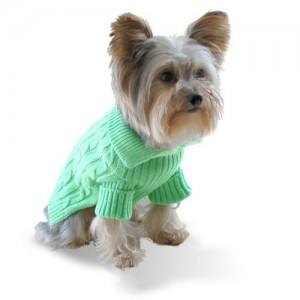 Size #14, Designer Pet Clothes, Pistachio Green Dog Aran Jumper Sweater
