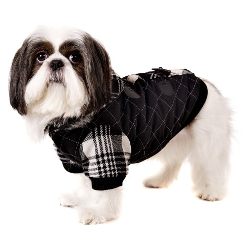 UrbanPup Luxury Black / White Duffle Coat with Detachable Hood (Medium - Dog Body Length: 12