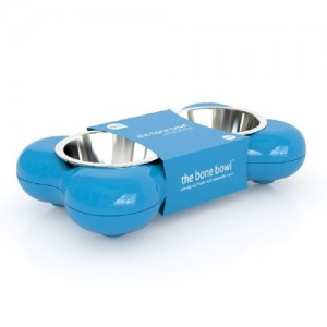 Hing Designs The Bone Bowl with Non Slip Rubber Feet and Dishwasher Safe Removable Stainless Steel Bowls, Blue