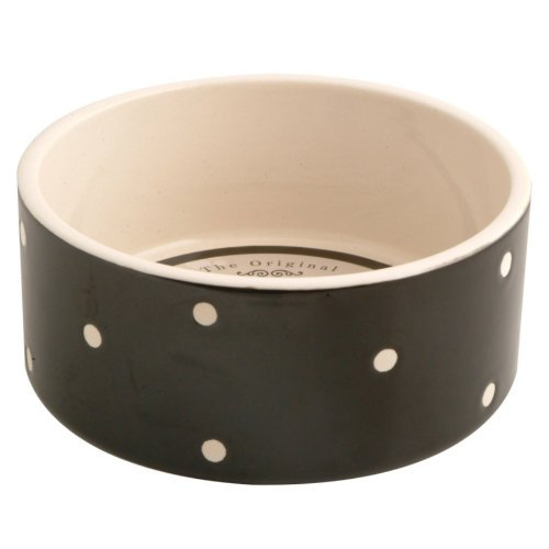 Mason Cash Polka Dot Black Dog Bowl, 180mm