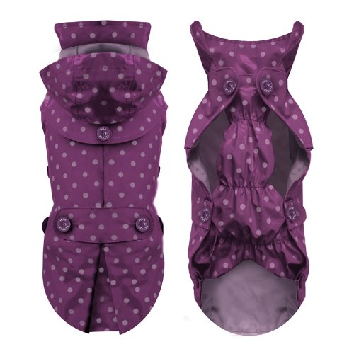 Milk & Pepper Designer Dog Waterproof fully lined Raincoat Jacket Parka for Small dogs in Purple (size 28 cm)