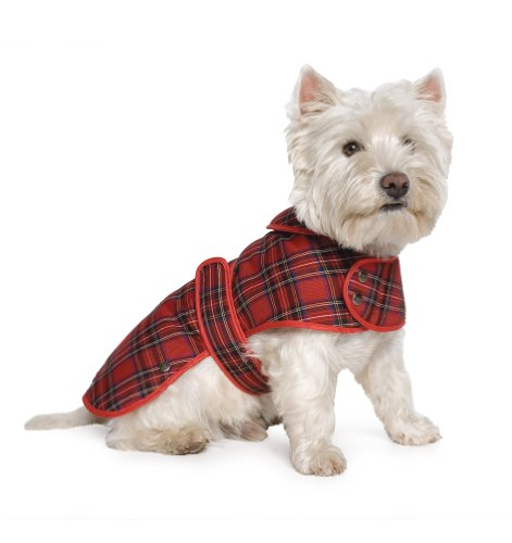 Muddy Paws Highland Tartan Coat Red Large