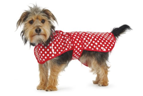 Muddy Paws Red Polka Dot Rain Coat Small