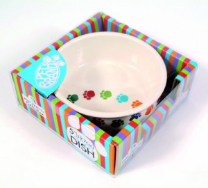 Pet Brands Dog Paw Prints Ceramic Dish, 6-inch