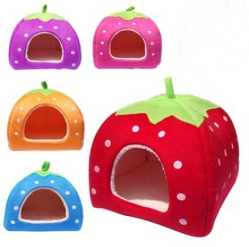 Strawberry Pet igloo bed / House 3 sizes and 3 colours to choose from (Large, Red)