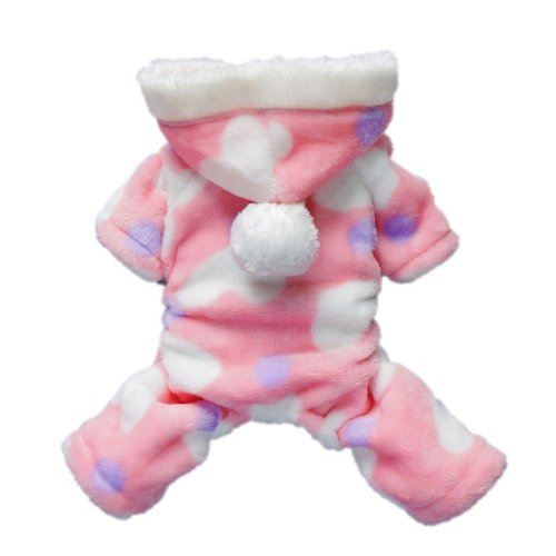 Umiwe(TM) Cute Cozy Coral Fleece Sweetie Lovely Heart Dog Coat/Jumpsuit/Hoodie/Pet Clothes-Pink (Small Size) With Umiwe Accessory Peeler