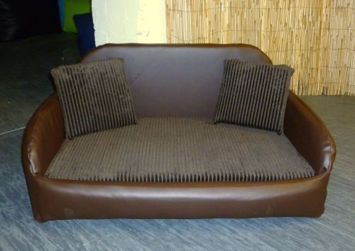 Zippy Faux Leather Sofa Dog Bed - Large - Brown/Brown Jumbo Cord