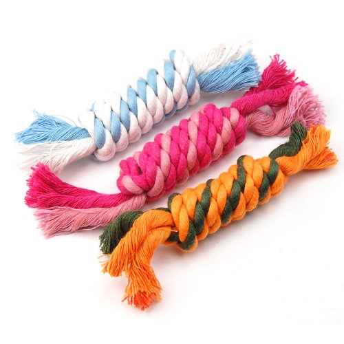 WPG 3 × Cute Tough Strong Puppy Dog Pet Tug War Play Cotton Rope Chew Toy with Knot Fun