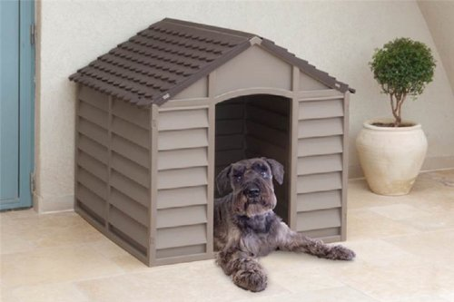 DOG KENNEL PLASTIC DURABLE OUTDOOR DOG HOME SHELTER KENNEL MOCHA GREEN BEIGE (MOCHA)