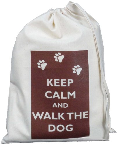 Keep Calm and Walk the Dog- Small Natural Cotton Drawstring Bag