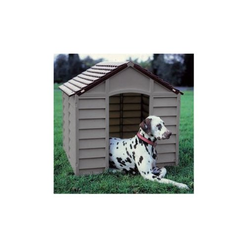 STARPLAST STRONG PLASTIC BROWN DOG KENNEL, 78CM X 84.5CM X 80.5CM