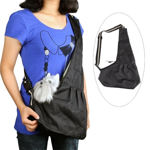 Black Pet Dog Puppy Strap Sling Shoulder Bag Carrier S