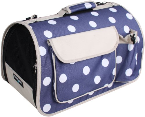 Edenpetz Navy Polkadots Pet Carrier, 49 x 28 x 27 cm, Navy