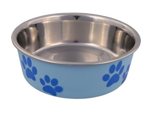 Trixie Stainless Steel Bowl with Plastic Coating, 17 cm Dia