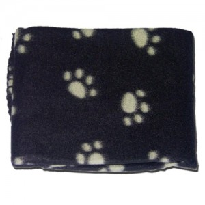 BLACK SOFT COSY WARM FLEECE PAW PRINT PET BLANKET DOG PUPPY ANIMAL CAT BED