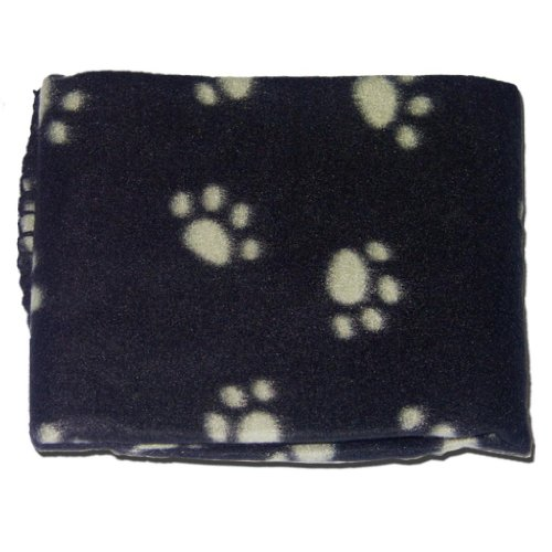 BLACK SOFT COSY WARM FLEECE PAW PRINT PET BLANKET DOG PUPPY ANIMAL CAT BED