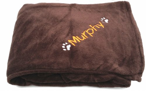 Chocolate Paw Print Microfibre Snuggle Soft Personalised Dog Blanket. When Checking Out, Please Tick The Gift Message Box To Enter Your Personalisation Details