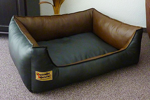 Similpelle Dog Bed/Sofa Artificial Leather 80 x 60 cm Black and Brown
