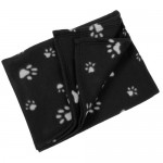 Large-Fleece-Car-Dog-Cat-Pet-Blanket-120-x-150cm-Black-With-Grey-Paw-Print-0