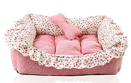 Love U Princess Floral Pet Bed Sofa House Mat for Cat Dog Puppy 22 Inch by 15.5 Inch Pink