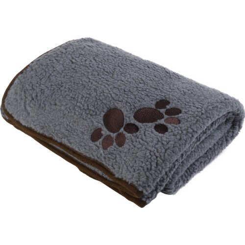 Pet Face Soft Sherpa Fleece Dog Blanket Warm Puppy Comforter (Grey with Brown Detail)