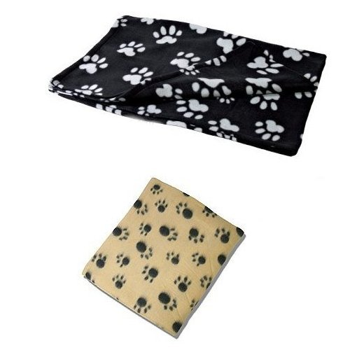 X 2 Large UKayed ® Pet Blankets Deluxe Fleece 120cm X 80cm 1 Black 1 Biege