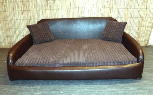 Zippy faux leather sofa pet dog bed extra large brown for Xl dog sofa bed