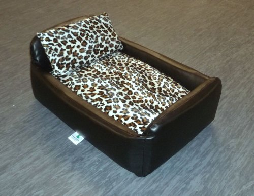 Zippy Pet Dog Bed - Faux Leather Divan - Medium - Colour Black/Leopard