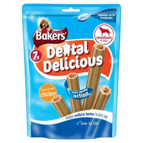 Bakers Dental Delicious Chicken for Medium Dogs 200 g, Pack of 6