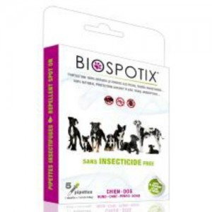 Biospotix 100 Percent Natural Flea and Tick Spot-on Repellent for Dogs, 1 ml Pipettes, Pack of 5