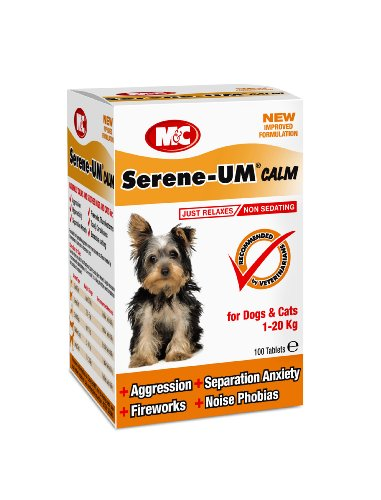 M&C Serene-UM Calm, Naturally Calms & Soothes for Dogs & Cats (100 Tablets)