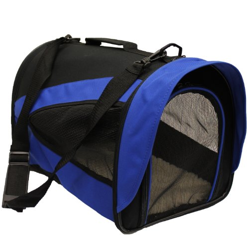 Mool Lightweight Fabric Pet Carrier Crate with Fleece Mat, 43 x 28 x 29 cm, Blue