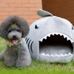 SKL Shark Round Pet House Puppy Bed with Removable Cushion Mat, Small to Medium (Grey, Small)