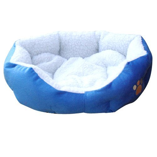 SWT Blue Warm Indoor Soft Fleece Puppy Pets Dog Cat Bed House Basket with Mat waterproof