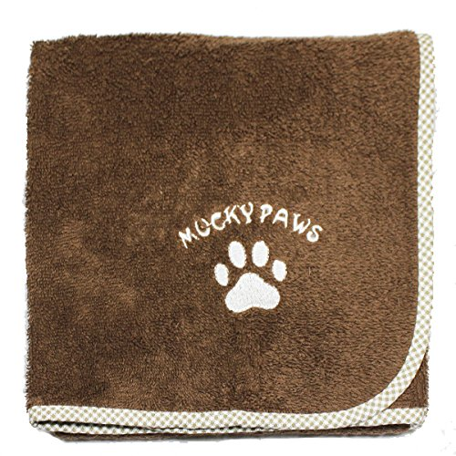 Harwoods Mucky Paws 100% Cotton Terry Towelling Pet Dog Towel, Chocolate