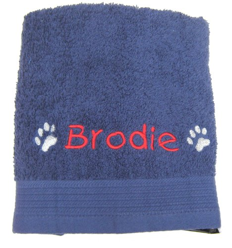 """Personalised Cosy Paw Navy Blue Travel Pet Towel For Dogs 36"""" x 20"""""""