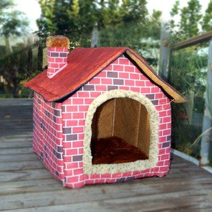 Brick Wall Style Pet House Large/Dog Bed Large S/M/L Pink