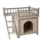 Indoor-Wooden-Dog-Cat-House-Den-Finished-in-a-Grey-and-White-Colour-is-a-Fairytale-Wood-Kennel-For-Your-Cat-or-Dog-With-a-Roof-Terrace-and-Cosy-Bedroom-its-a-Home-For-Discerning-Cats-and-Dogs-0