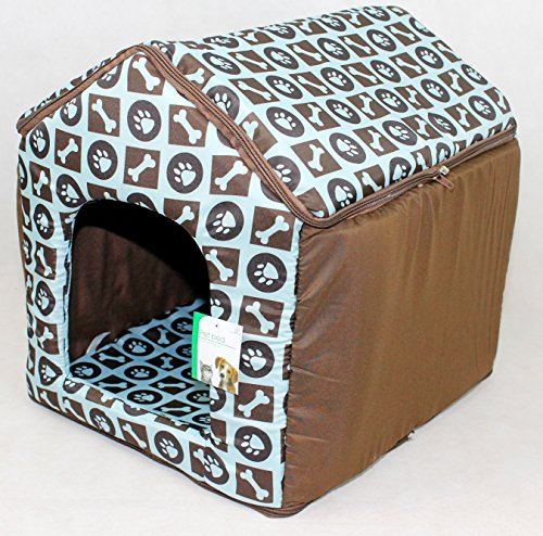 LUXURY SOFT PLUSH FABRIC DOG HOUSE WITH DETATCHABLE ROOF & REMOVABLE MACHINE WASHABLE