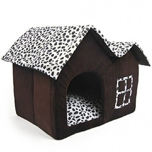 SKL Luxury High-end Cow Style Pet House Coffee Brown Dog Room Cat Bed