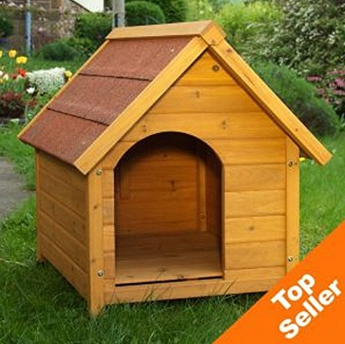 Wooden Dog Kennel - Sturdy & Attractive Outdoor Dog Kennel Made From Light, Finished Wood With a Wide Overhang Offering Protection From Adverse Weather Conditions