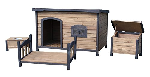 Wooden Dog Kennel With Flat Roof - Available in 3 sizes and 3 colours and with or without Accesory Packs
