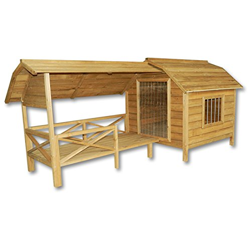 XXL Outdoor Dog Kennel Dog House with Veranda Massive Wood