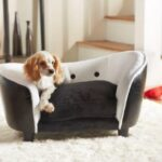 Deluxe Ultra Plush Snuggle Bed Dog Sofa - Black and White PU (D34803/H)