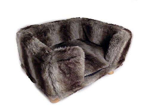 Grey Wolf Fur Rectangular Stool With 4 Pine Legs Pet Bed