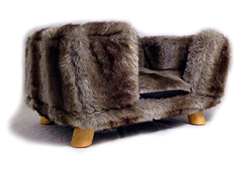 Grey Wolf Fur Rectangular Stool With 4 Pine Legs Pet Bed